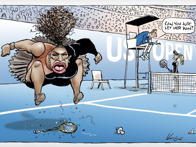 sports australian paper published serena cartoon call ups racism